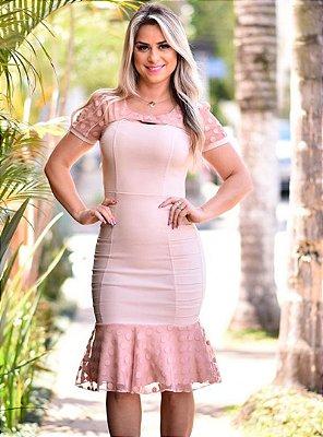 Vestido Rosa Moda Evangelica Barra Sino com Tule em Poa RS1488
