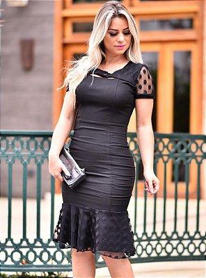 Vestido Preto Moda Evangelica Barra Sino com Tule em Poa RS1488