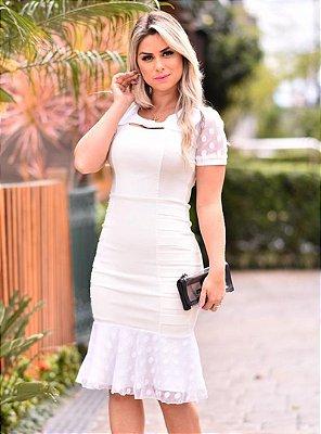 Vestido Off White Moda Evangelica Barra Sino com Tule em Poa RS1488