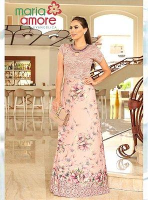 Vestido Longo Moda Evangelica Rose com Renda Maria Amore 2210
