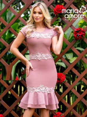 Vestido Sino Moda Evangelica Rose com Tule Maria Amore 2082
