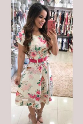 Vestido Lady Like Moda Evangelica com Cinto RP