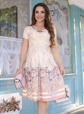Vestido Lady Like Moda Evangelica com Detalhes em Perola RP