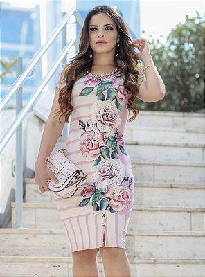 Vestido Tubinho Moda Evangelica Floral RP