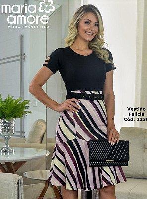 Vestido Evase Moda Evangelica Duas Cores com Cinto Maria Amore 2230