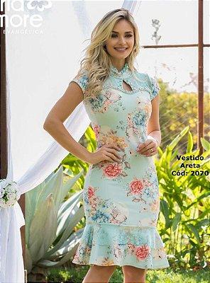 Vestido Sino Moda Evangelica Detalhes em Perola Maria Amore 2070