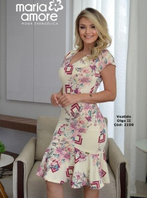 Vestido Sino Moda Evangelica Estampado Maria Amore 2190