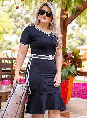 Vestido Sino Moda Evangelica Esportivo com Cinto