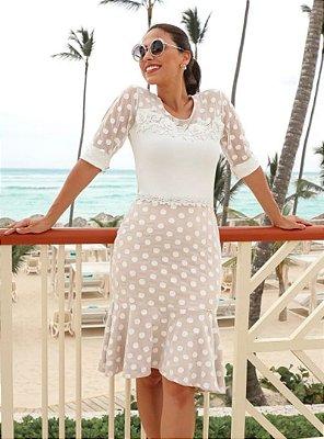 Vestido Branco Moda Evangelica Barra Sino Detalhe em Tule Poa RP 9488