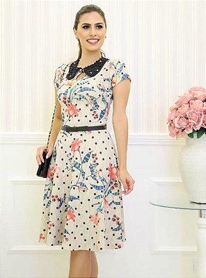 Vestido Lady Like Moda Evangelica Estampa em Poa RP