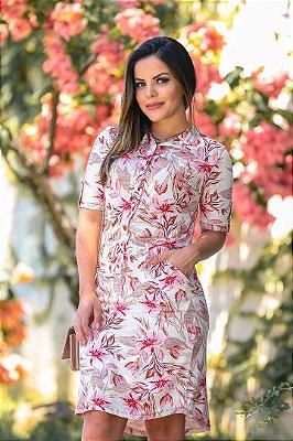 Vestido Chamise Moda Evangelica Estampado Rosa com Bolso Boutique K 0895