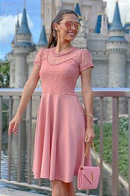 Vestido Rose Lady Like Moda Evangelica Detalhes em Perola e Tule de Estrelinha RP
