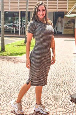 Vestido Tata Martello Moda Evangelica Tubinho Midi em Malha Lurex 4062