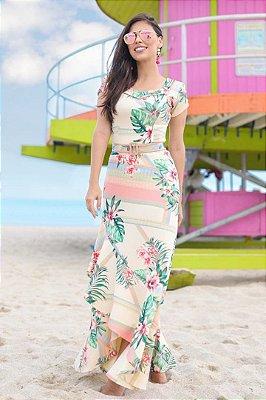 Vestido Longo Moda Evangelica em Malha Estampado RP