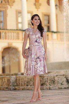 Vestido Lady Like Moda Evangelica Detalhes em Perolas acompanha Cinto RP