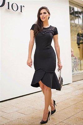 Vestido Preto Moda Evangelica Detalhes em Renda e Perola RP