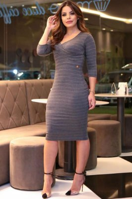 Vestido Moda Evangelica em Malha Forrado Boutique K 4760