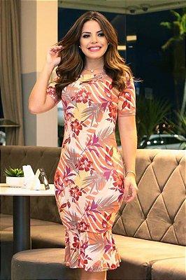 Vestido Moda Evangelica em Malha Viscolycra Forrado Boutique K 4759