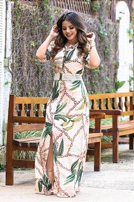 Vestido Longo Estampado Moda Evangelica com Cinto EX 3492