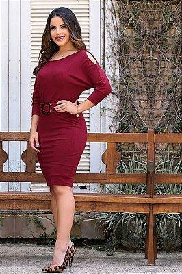Vestido em Malha Canelada Moda Evangelica Ombro Aberto EX 3507