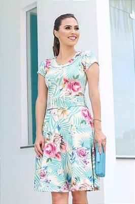 Vestido Lady Like Moda Evangelica Detalhes em Botões e Acompanha Cinto RP