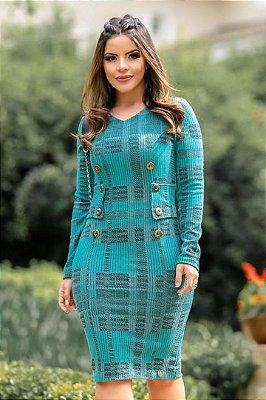 Vestido Azul Tiffany Moda Evangelica Manga Longa Boutique K 0899