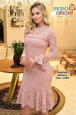 Vestido Rose enm Renda Moda Evangelica com Perolas Maria Amore 2499