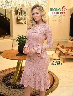 Vestido Rose em Renda Moda Evangelica com Perolas Maria Amore 2499