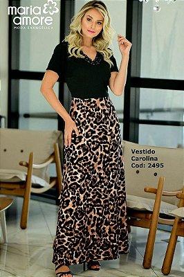 Vestido Longo Moda Evangelica Saia Animal Print Maria Amore 2495