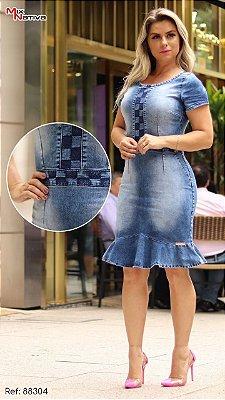 Vestido Jeans Moda Evangelica com Bordade no Busto MN 1453