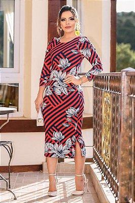 Vestido Midi Moda Evangelica Estampado Boutique K 110