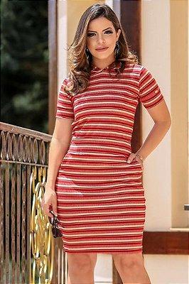 Vestido Moda Evangelica Em Malha Canelado Vermelho Boutique k 4771