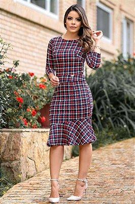 Vestido Moda Evangelica Estampado Barra Sino Boutique K 0902