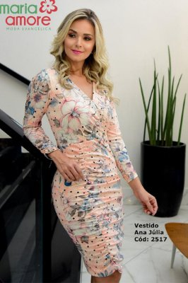Vestido Tubinho Moda Evangelica em Malha Drapeado Maria Amore  2517