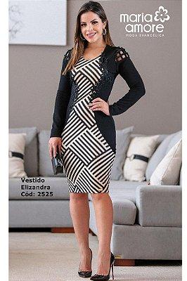 Vestido Tubinho Moda Evangelica com Recortes que Modelam a Cintura Maria Amore  2525