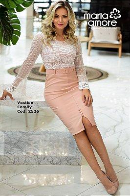 Vestido Tubinho Moda Evangelica Nude com Renda Maria Amore  2526