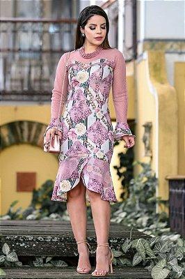 Vestido Moda Evangelica Estampado Barra Sino com detalhes em Tule RP