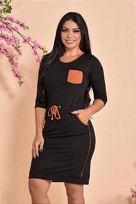 Vestido Moda Evangelica em Malha amarração na Cintura DM