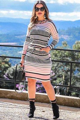 Vestido Moda Evangelica Tubinho Listrado Boutique K 0114