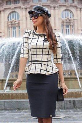 Vestido Moda Evangelica Peplum Detalhes em Xadrez e Perolas RP