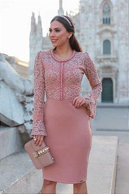 Vestido Rose Moda Evangelica Busto em Renda e Detalhes em Perolas RP
