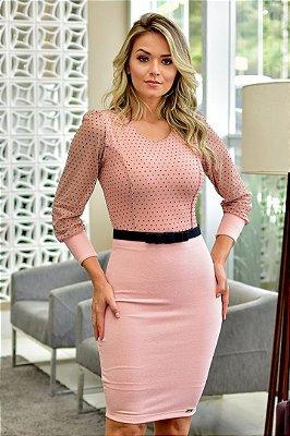 Vestido Moda Evangelica Rosa com Poa e Cinto Maria Amore 2611