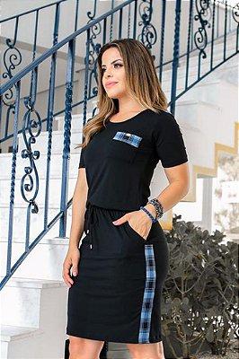 Vestido Preto Moda Evangelica com Amarração na Cintura Boutique K 4787