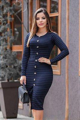 Vestido Moda Evangelica Tubinho Listrado Sophia ENN