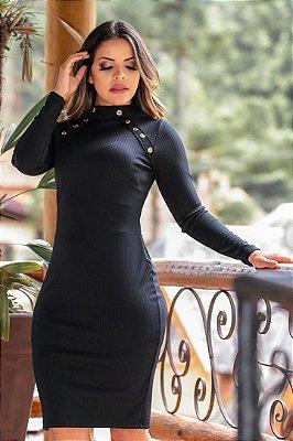 Vestido Preto Moda Evangelica Tubinho Canelado Melinda ENN