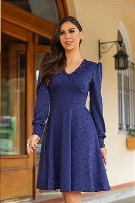 Vestido Lady Like Moda Evangelica Azul Marinho Detalhes em Perolas RP