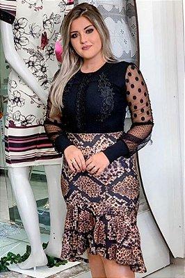 Vestido Animal Print Moda Evangelica com detalhes em Tule e Renda RP