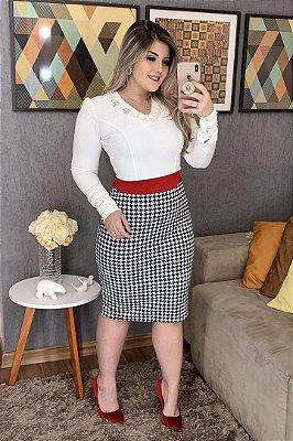 Vestido Tubinho Moda Evangelica com detalhes em Xadrez e Perolas RP