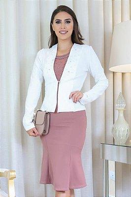 Vestido Moda Evangelica com Casaco e Aplicação de Perolas RP