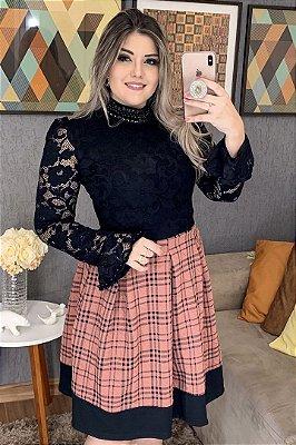 Vestido Lady Like Moda Evangelica Rose Xadres e Busto em Renda RP